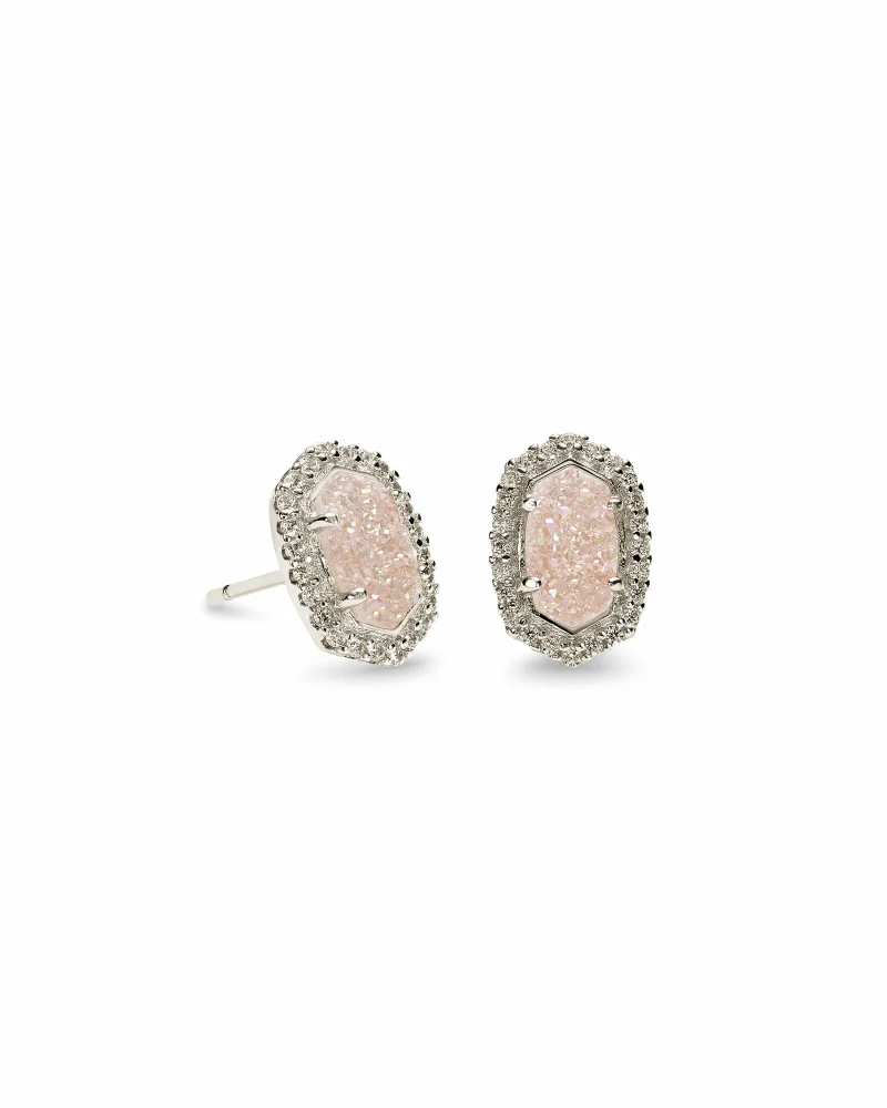 Kendra Scott Cade Silver Stud Earrings in Iridescent Drusy
