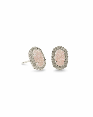 Kendra Scott Cade Silver Stud Earrings in Iridescent Drusy