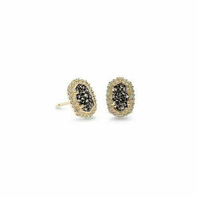 Kendra Scott Cade Gold Stud Earrings in Platinum Drusy