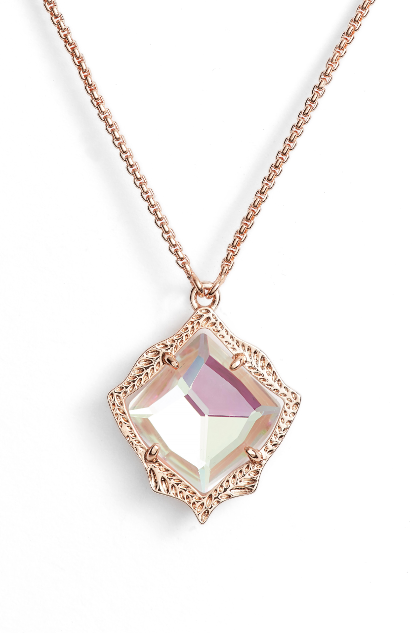 Kendra Scott Kacey Rose Gold Long Pendant Necklace in Dichroic Glass