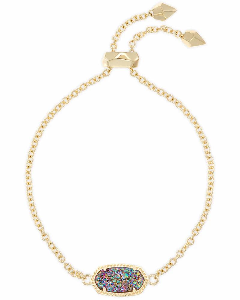Kendra Scott Elaina Gold Adjustable Chain Bracelet in Multicolor Drusy