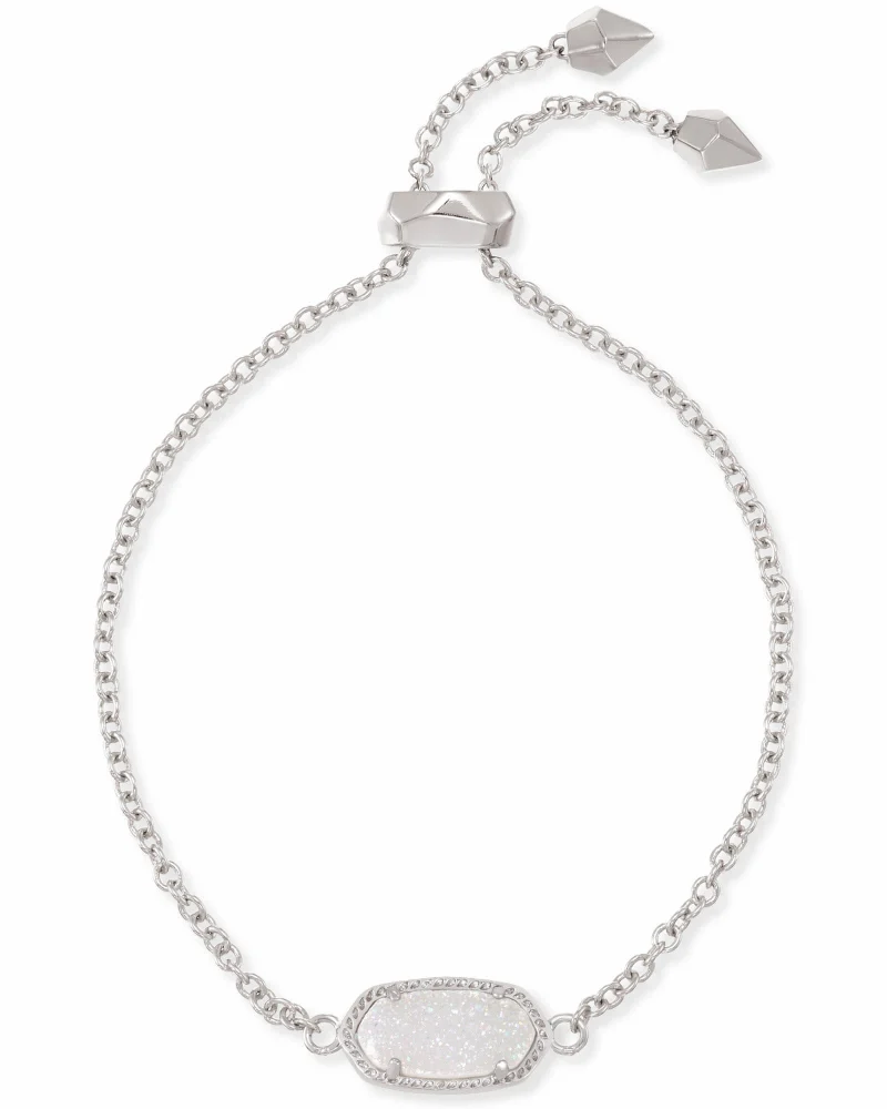 Kendra Scott Elaina Silver Adjustable Chain Bracelet in Iridescent Drusy