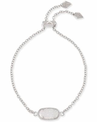 Kendra Scott Elaina Silver Adjustable Chain Bracelet in Iridescent Drusy