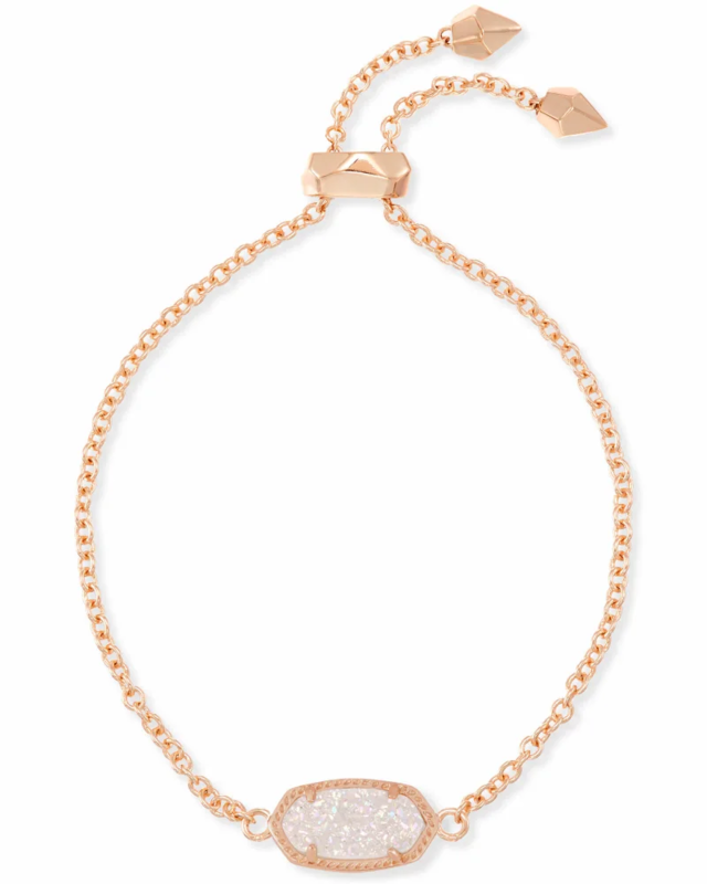 Kendra Scott Elaina Rose Gold Adjustable Chain Bracelet in Iridescent Drusy