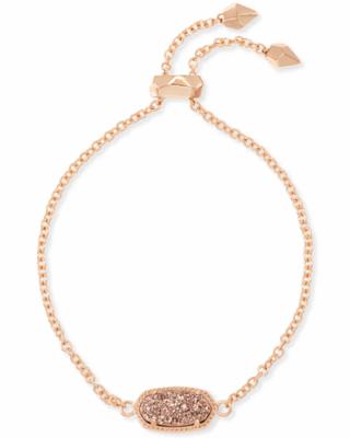 Kendra Scott Elaina Rose Gold Adjustable Chain Bracelet In Rose Gold Drusy