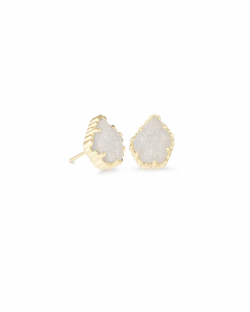 Kendra Scott Tessa Gold Stud Earrings in Iridescent Drusy