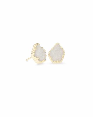 Kendra Scott Tessa Gold Stud Earrings in Iridescent Drusy