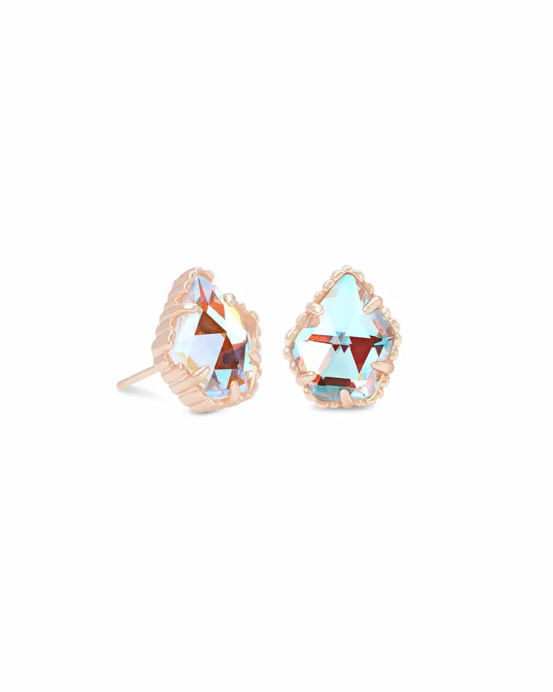 Kendra Scott Tessa Rose Gold Stud Earrings In Dichroic Glass