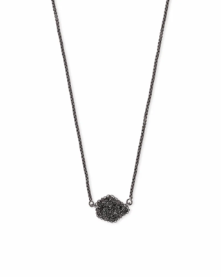 Kendra Scott Tess Gunmetal Pendant Necklace in Black Drusy