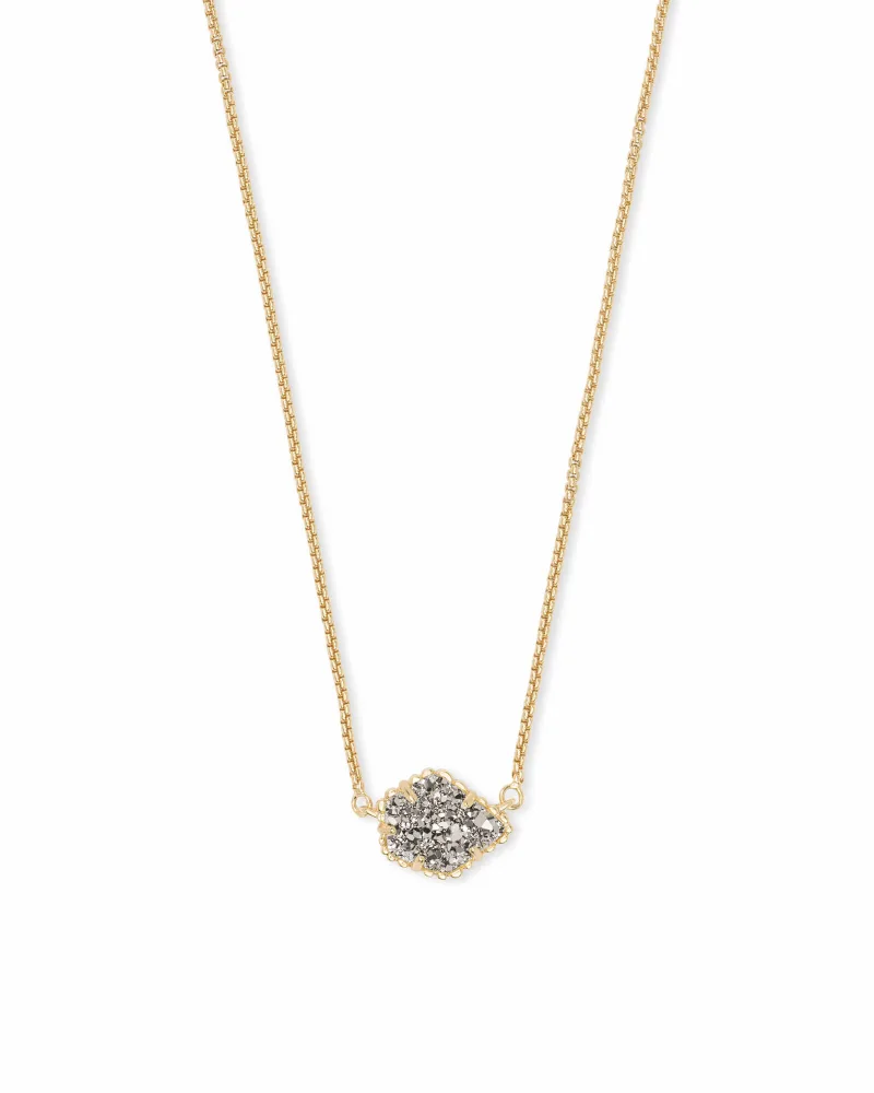 Kendra Scott Tess Gold Pendant Necklace in Platinum Drusy