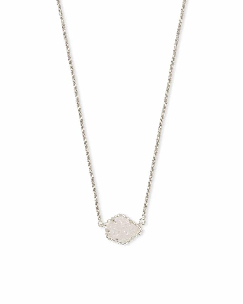 Kendra Scott Tess Silver Pendant Necklace in Iridescent Drusy