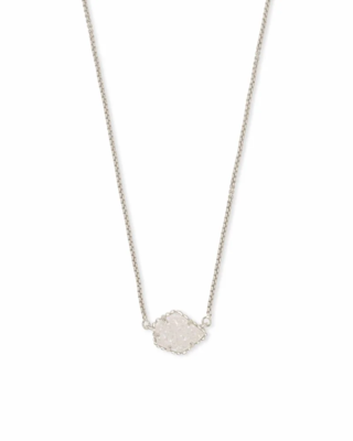 Kendra Scott Tess Silver Pendant Necklace in Iridescent Drusy