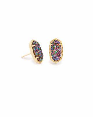 Kendra Scott Ellie Gold Stud Earrings in Multicolor Drusy