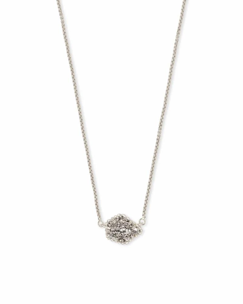 Kendra Scott Tess Silver Pendant Necklace in Platinum Drusy