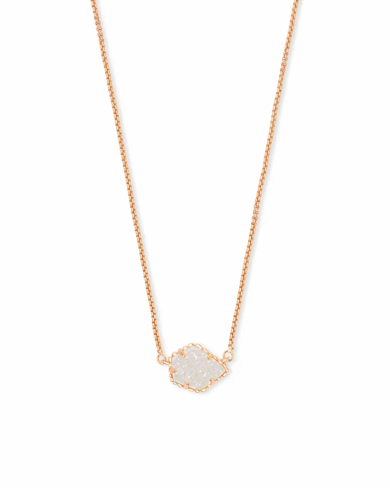 Kendra Scott Tess Rose Gold Pedant Necklace in Iridescent Drusy