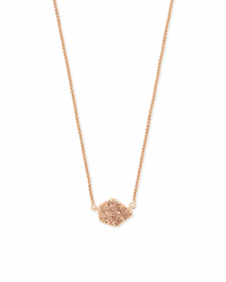 Kendra Scott Tess Rose Gold Pendant Necklace in Rose Gold Drusy