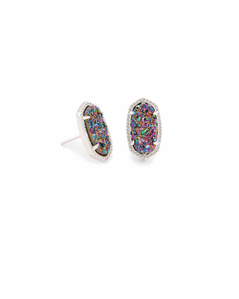 Kendra Scott Ellie Silver Stud Earrings in Multicolor Drusy