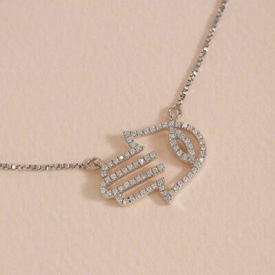 Ella Stein Hamsa Handshake Necklace (Silver)
