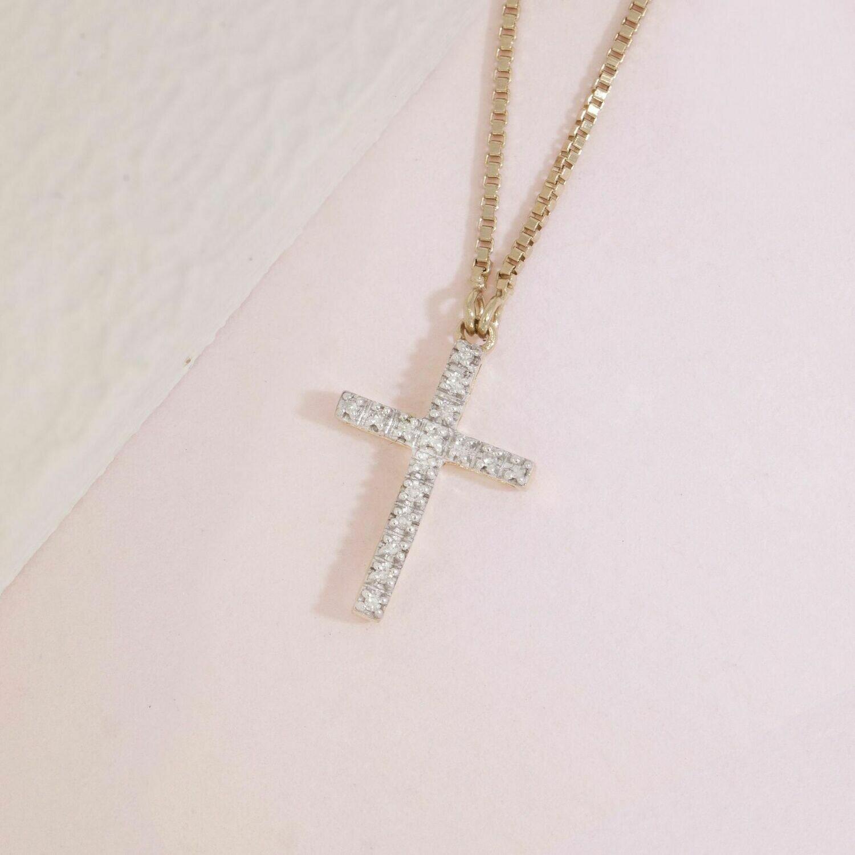 Ella Stein Believe Cross Necklace (Gold)