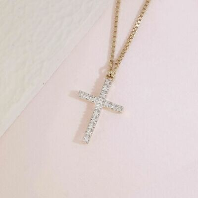 Ella Stein Believe Cross Necklace (Gold)