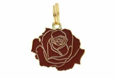 Pet ID Tag - Rose, Red & Gold