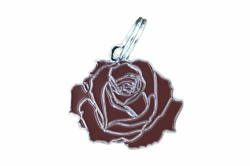 Pet ID Tag - Rose, Red & Silver