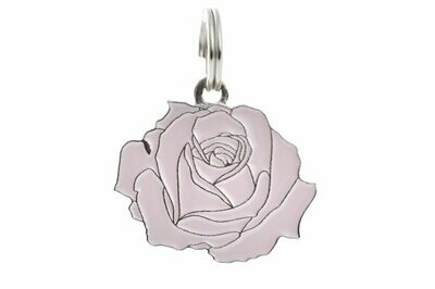 Pet ID Tag - Rose, Pink & Silver