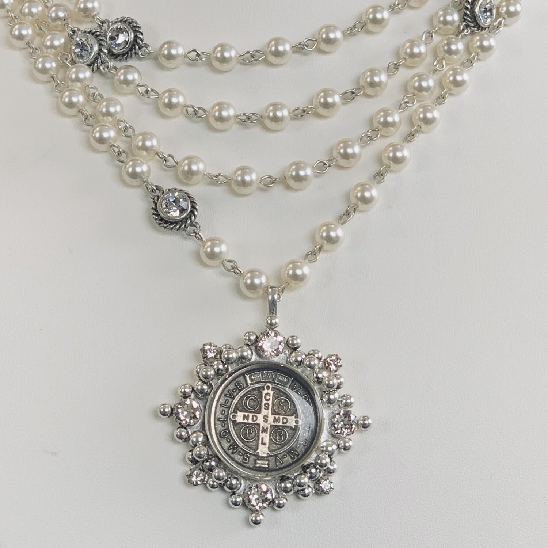 VSA San Benito Cloister Magdalena, 6mm Crystal Pearls, Silver