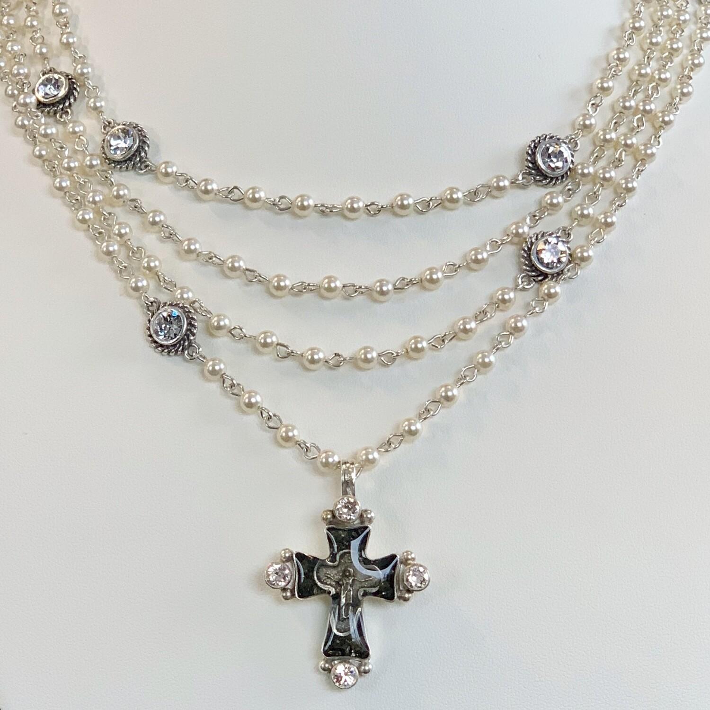 VSA Cross Magdalena, 4mm Crystal Pearl, Silver