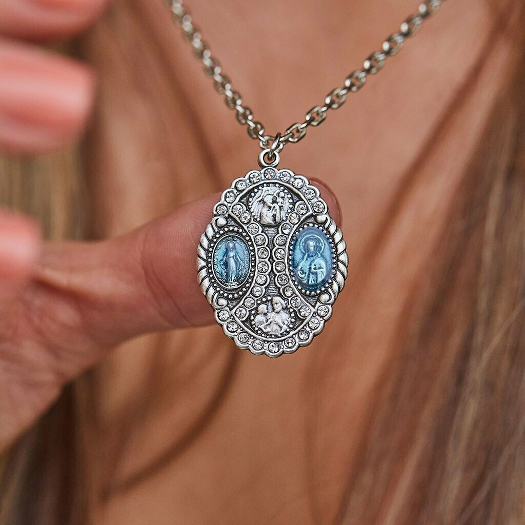 Luca + Danni Crystal 4 Way Medal Necklace