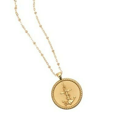 """Jane Winchester SMALL """"Strong"""" Anchor Coin Pendant"""