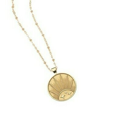Jane Win Small STRONG Rising Sun Coin Pendant