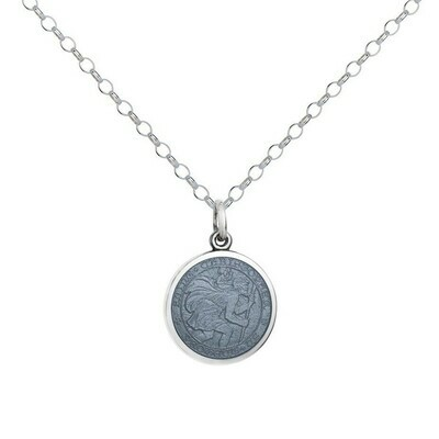 Colby Davis Saint Christopher Pendant, Small/Gray