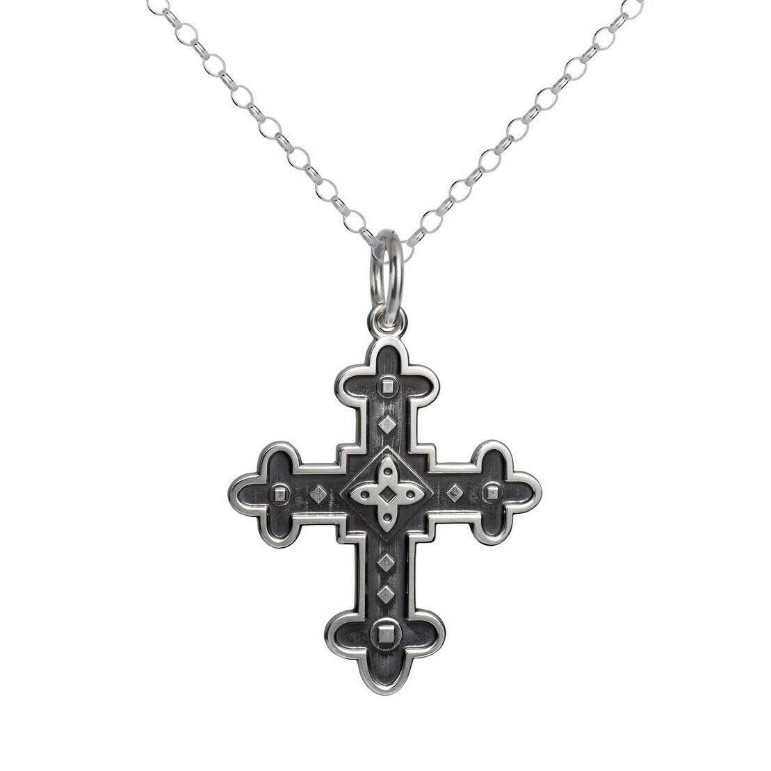 Colby Davis Byzantine Cross Pendant, Oxidized Silver