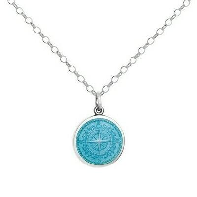 Colby Davis Compass Pendant, Small/Light Blue