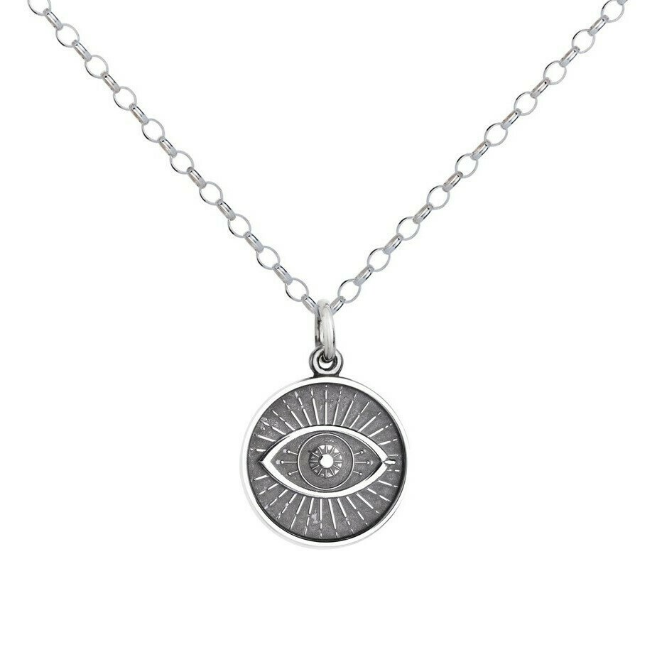 Colby Davis Evil Eye Pendant, Small/Oxidized Silver