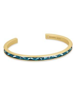 Kendra Scott Jack Vintage Gold Cuff Bracelet In Teal Crystal
