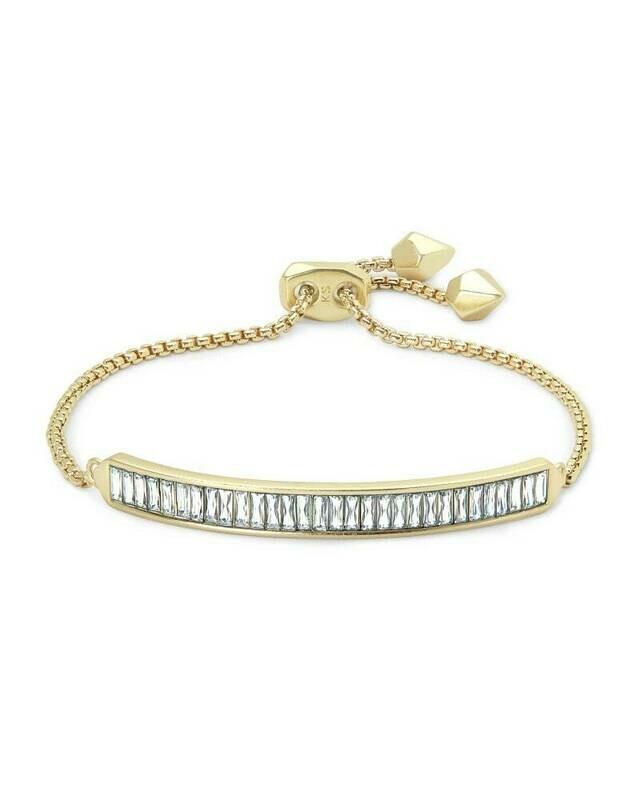 Kendra Scott Jack Adjustable Gold Chain Bracelet in Clear Crystal