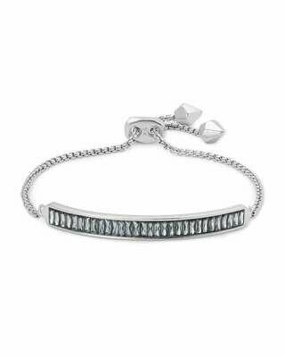 Kendra Scott Jack Adjustable Silver Chain Bracelet in Gray Crystal