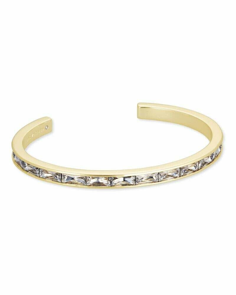 Kendra Scott Jack Gold Cuff Bracelet in Clear Crystal