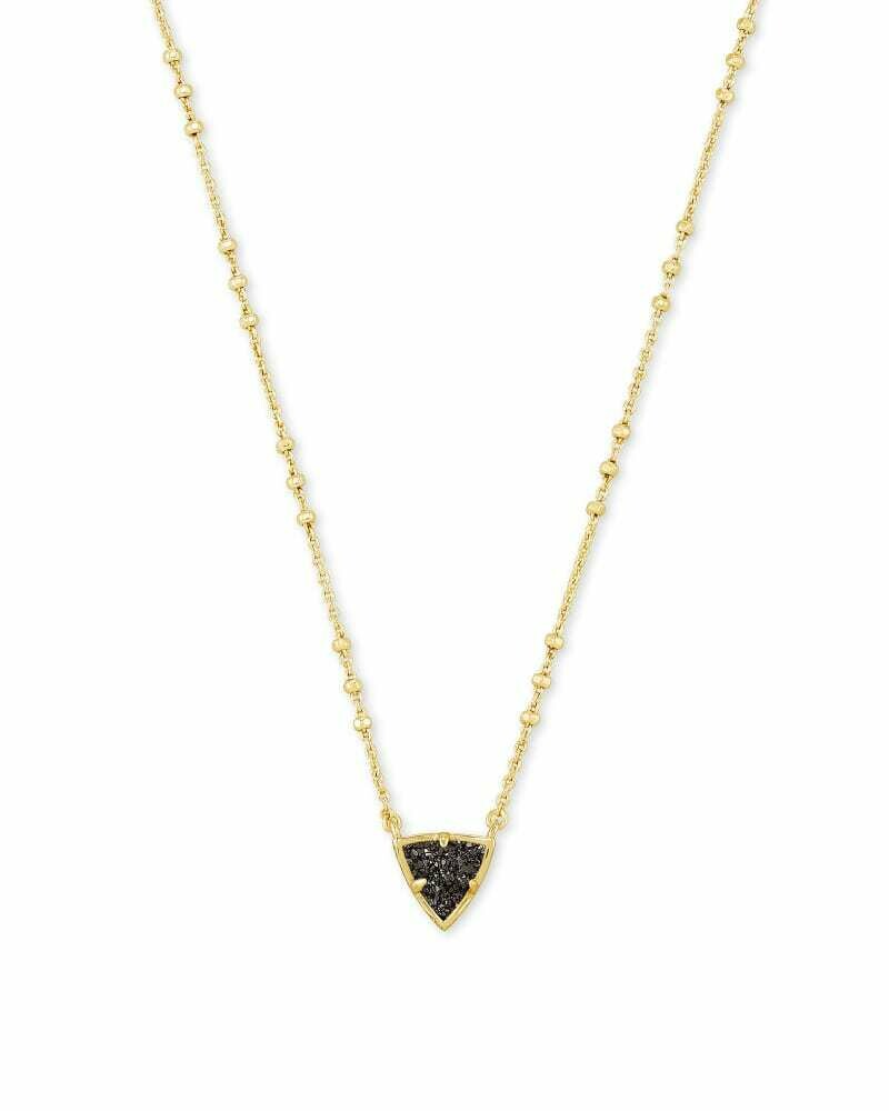 Kendra Scott Perry Gold Pendant Necklace in Black Drusy