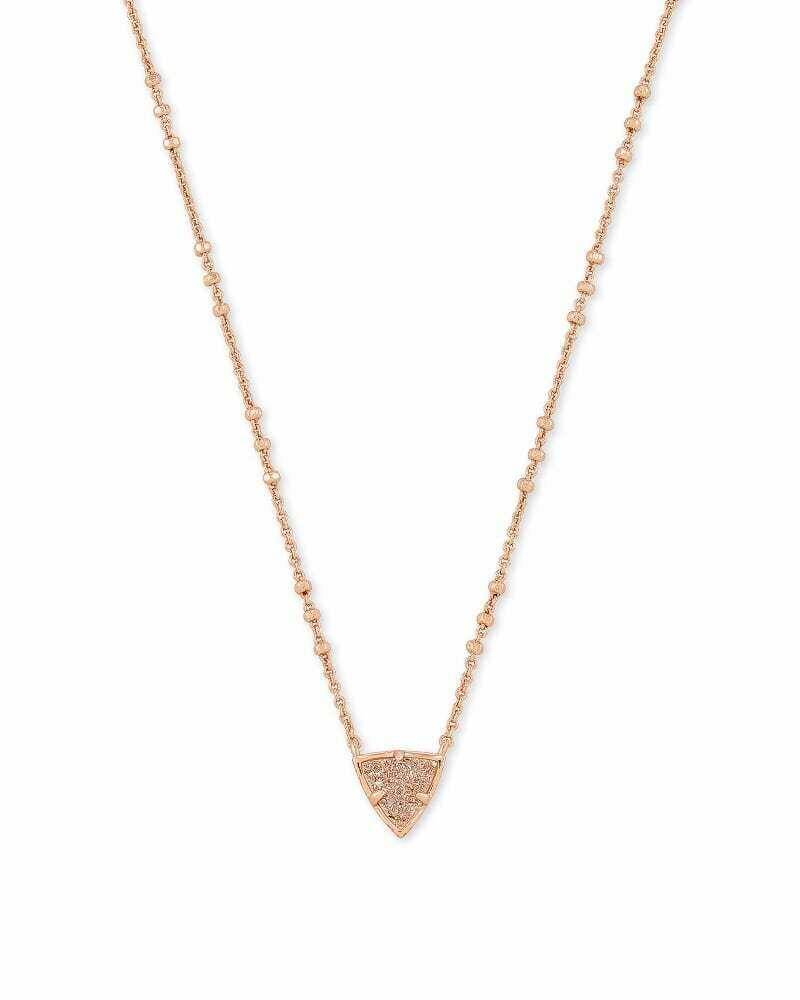 Kendra Scott Perry Rose Gold Pendant Necklace in Sand Drusy