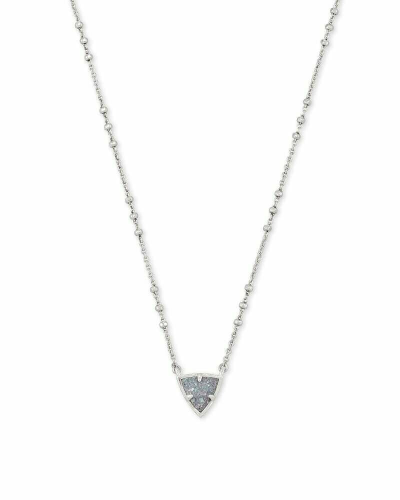 Kendra Scott Perry Silver Pendant Necklace in Steel Gray Drusy