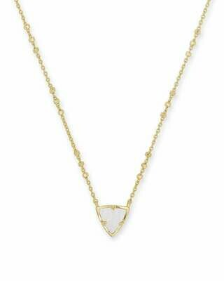 Kendra Scott Perry Gold Pendant Necklace in Iridescent Drusy