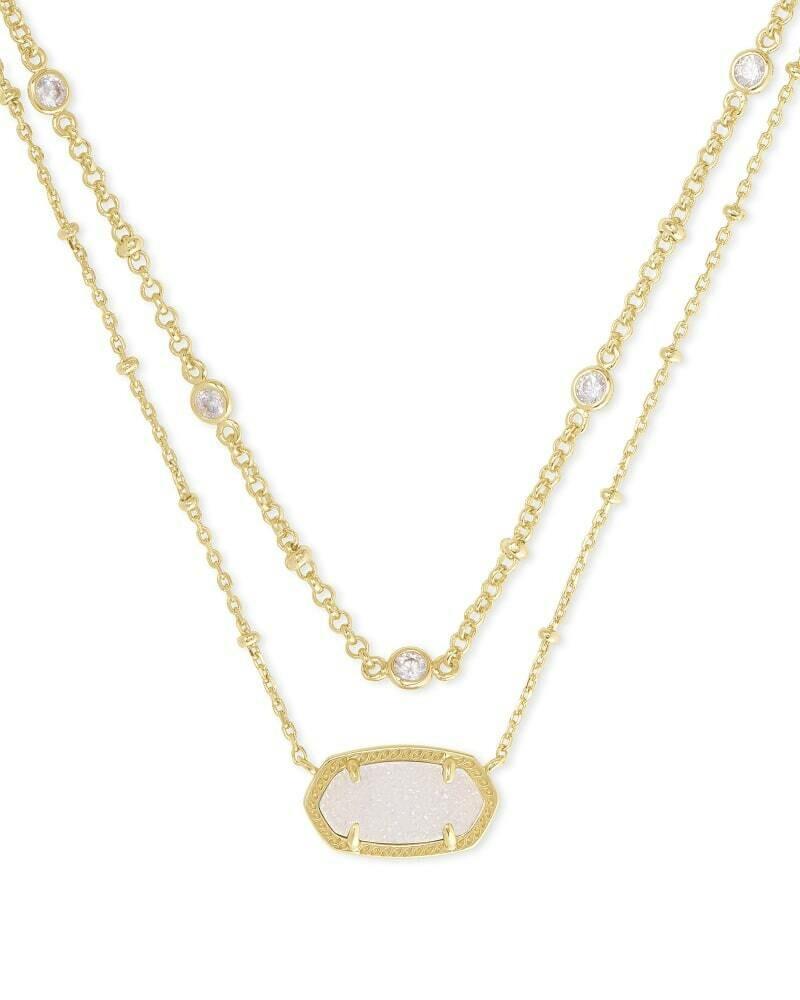Kendra Scott Elisa Gold Multi Strand Necklace in Iridescent Drusy