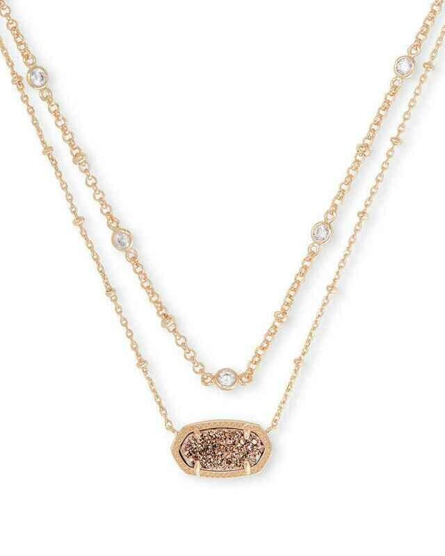 Kendra Scott Elisa Rose Gold Multi Strand Necklace in Rose Gold Drusy