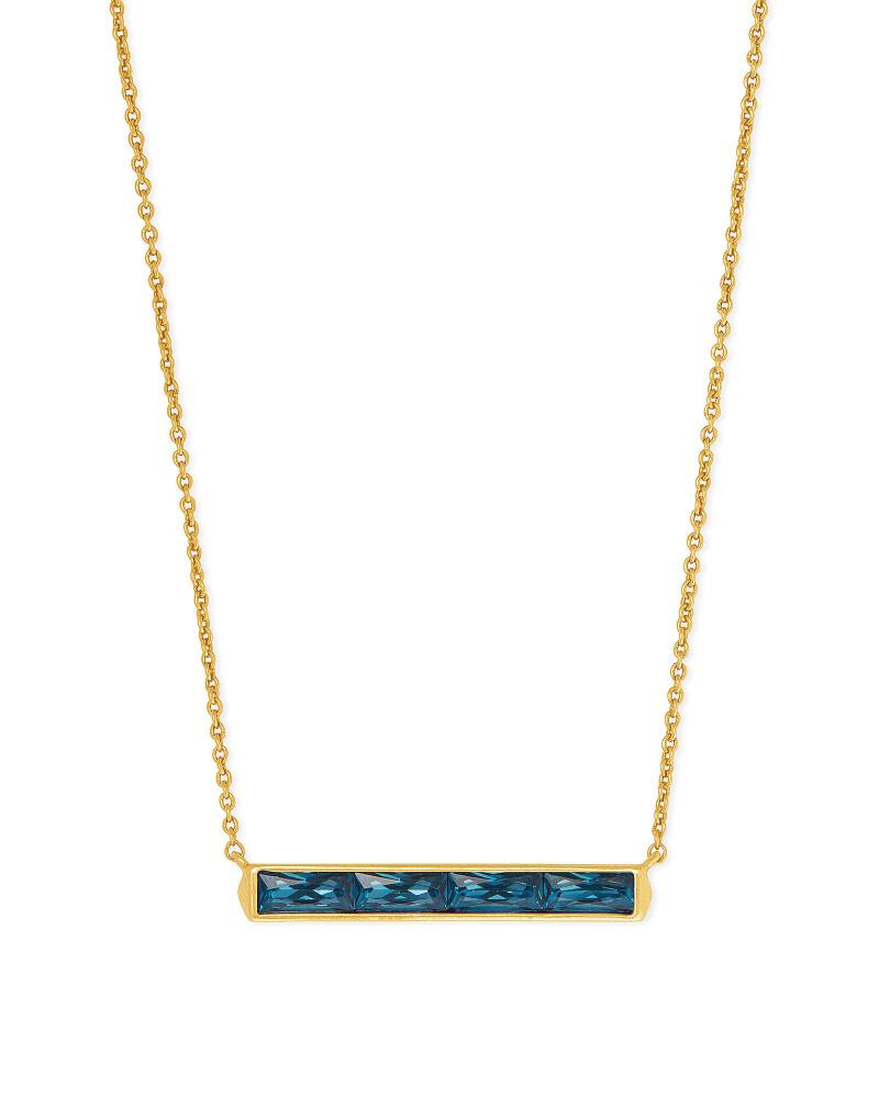 Kendra Scott Jack Vintage Gold Pendant Necklace in Teal Crystal