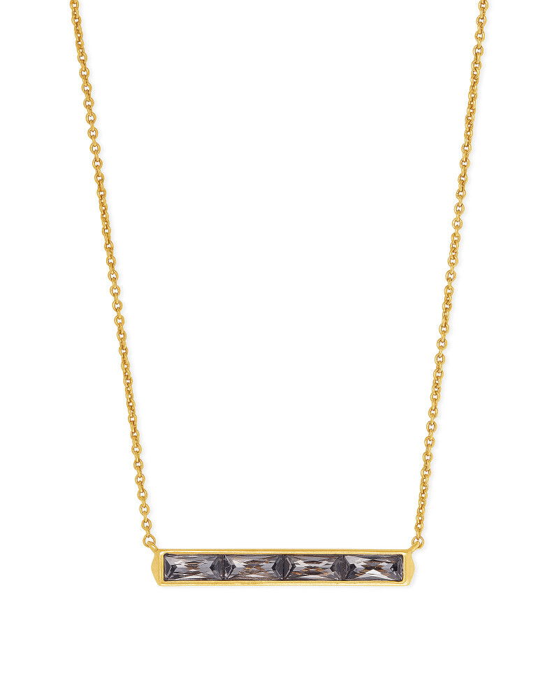 Kendra Scott Jack Vintage Gold Pendant Necklace in Charcoal Gray Crystal