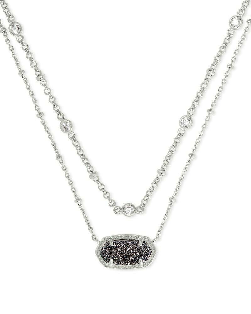 Kendra Scott Elisa Silver Multi Strand Necklace in Platinum Drusy