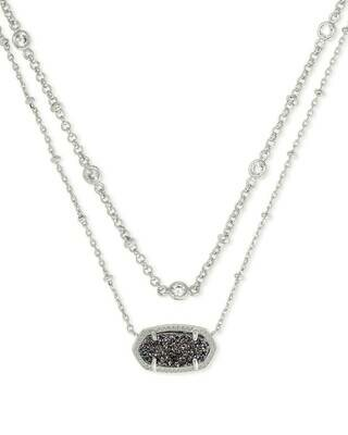 Kendra Scott Elisa Silver Multi Strand Necklace in Platinum Drusy